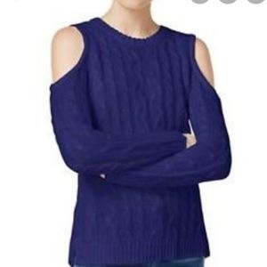 Nwt. Hippie rose blue cold shoulder sweater.